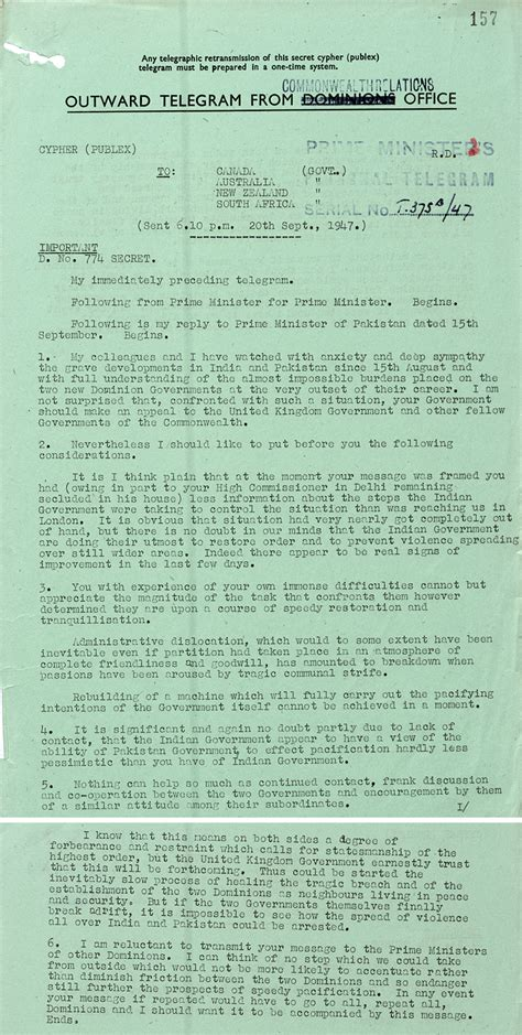 Attlee on partition violence - The National Archives